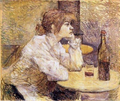 La Buveuse - Portrait de Suzane Valadon por Henri de Toulouse-Lautrec